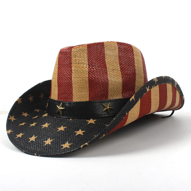 USA American Flag Straw Cowboy Hat For Women Men Western Cowgirl Sombrero  Hombre Jazz Caps Size 58CM 29348e235b4a