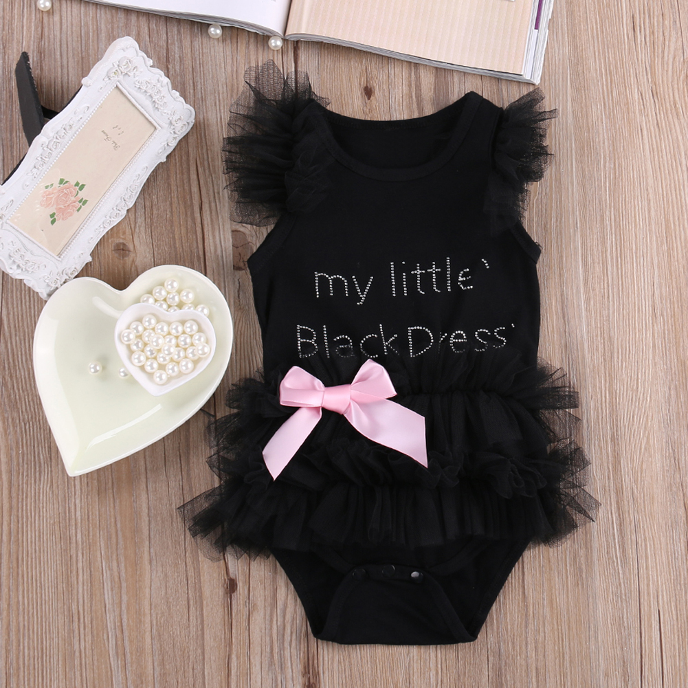 Baby Girls Short Sleeve Letter Print Black Bodysuit Infant Fashion Bubble Jumpsuit