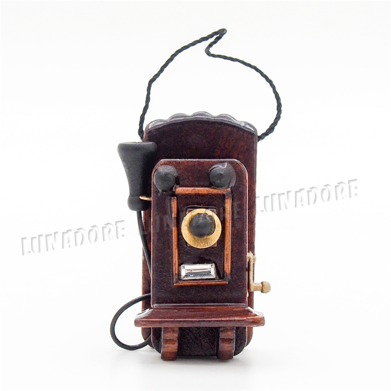 odoria 112 miniature antique wall mount phone vintage style dollhouse furniture accessories for livingroom cheap wooden dollhouse furniture
