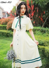 Ubei Women summer fairy dress retro puff sleeve sweet female peter pan collar high waist