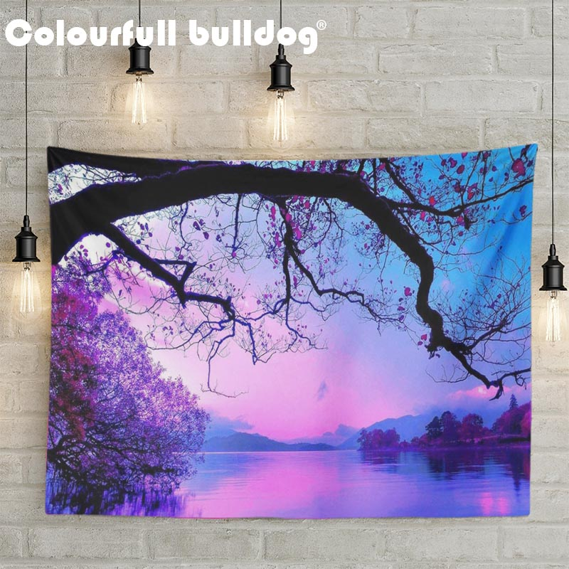 Purple Orange Lake Landscape Wall Hanging Tapestries Colored Forest Green Trees Beach Blanket Living Room Decor Sunset 130*150cm