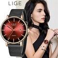 LIGE Frauen Uhren Top Marke Luxus Damen Mesh Gürtel Ultra dünne Uhr Edelstahl Wasserdichte Uhr Quarzuhr Reloj mujer-in Damenuhren aus Uhren bei