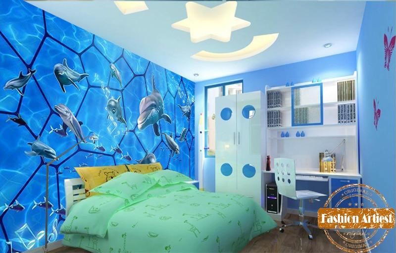 US $20.99 |Benutzerdefinierte 3d kinder jungen cartoon sea aquarium tapete  mural singen tanzen goldmakrele tv sofa kinder schlafzimmer wohnzimmer ...