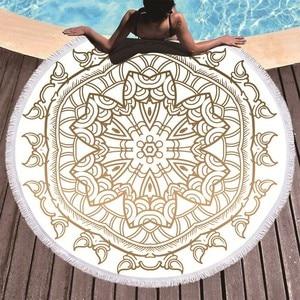 Image 3 - Mandala Printed Beach Towel Golden Microfiber Beach Towel Large Summer Tassel Bath Towel Sport Travel Picnic Blanket Yoga Toalla