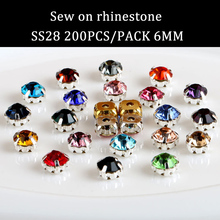 Free shipping 200pcs/pack 6mm Fashion hight quality crystal sew on rhinestone with claw diy Apparel accessories