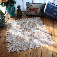 European Silk Gauze Hollow Embroidery Placemat Tea Dust Cover Towel Coffee Mug Pad Christmas Wedding Table Mat Drink Coasters