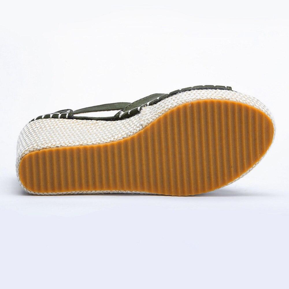 À Flatform Coudre Sandales Mode Femmes Hasp Boucle Peep Polonais Chaussures Terne marron Coins L'extérieur Toe Sangle vert Noir wYxUPqCXx