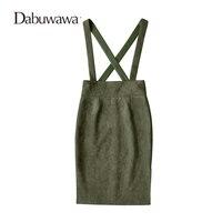 Dabuwawa Quân Xanh Mùa Thu Mùa Đông Da Lộn Treo Midi Váy Cổ Điển Cơ Bản Ống Bodycon Váy Saia