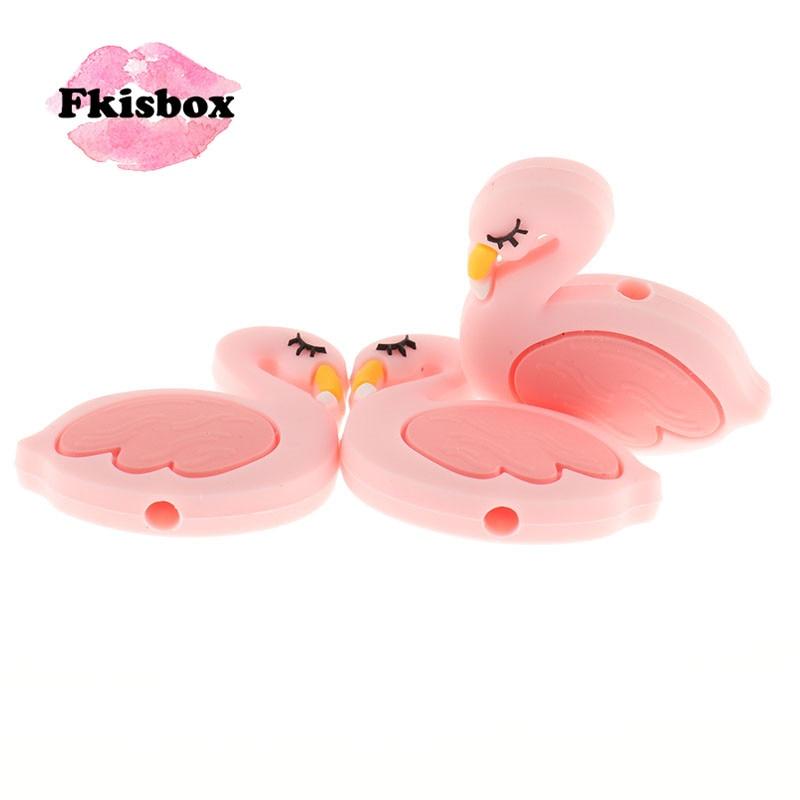 Fkisbox 15pcs Mini Flamingo Silicone Swan Beads Bpa Free Newborn Pacifier Chain DIY Baby Teething Necklace Christmas Decoration