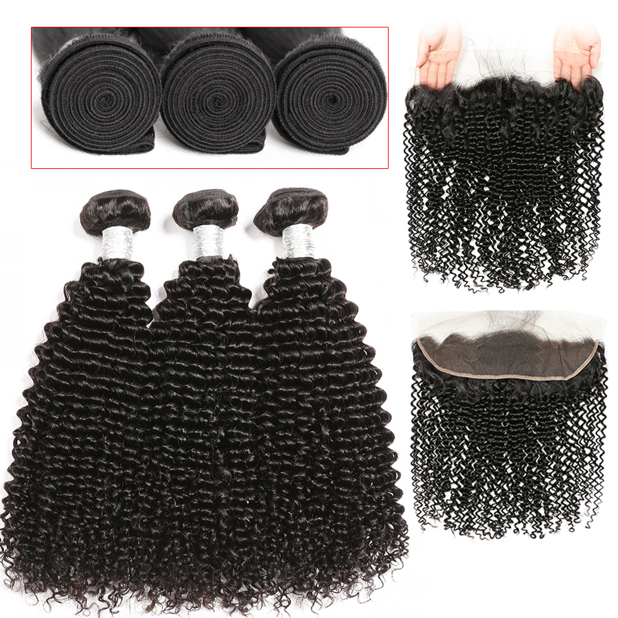 Brazilian Hair Weave Bundles With Frontal Kinky Curly Human Hair Bundles With Closure 13x4Lace Frontal Closure