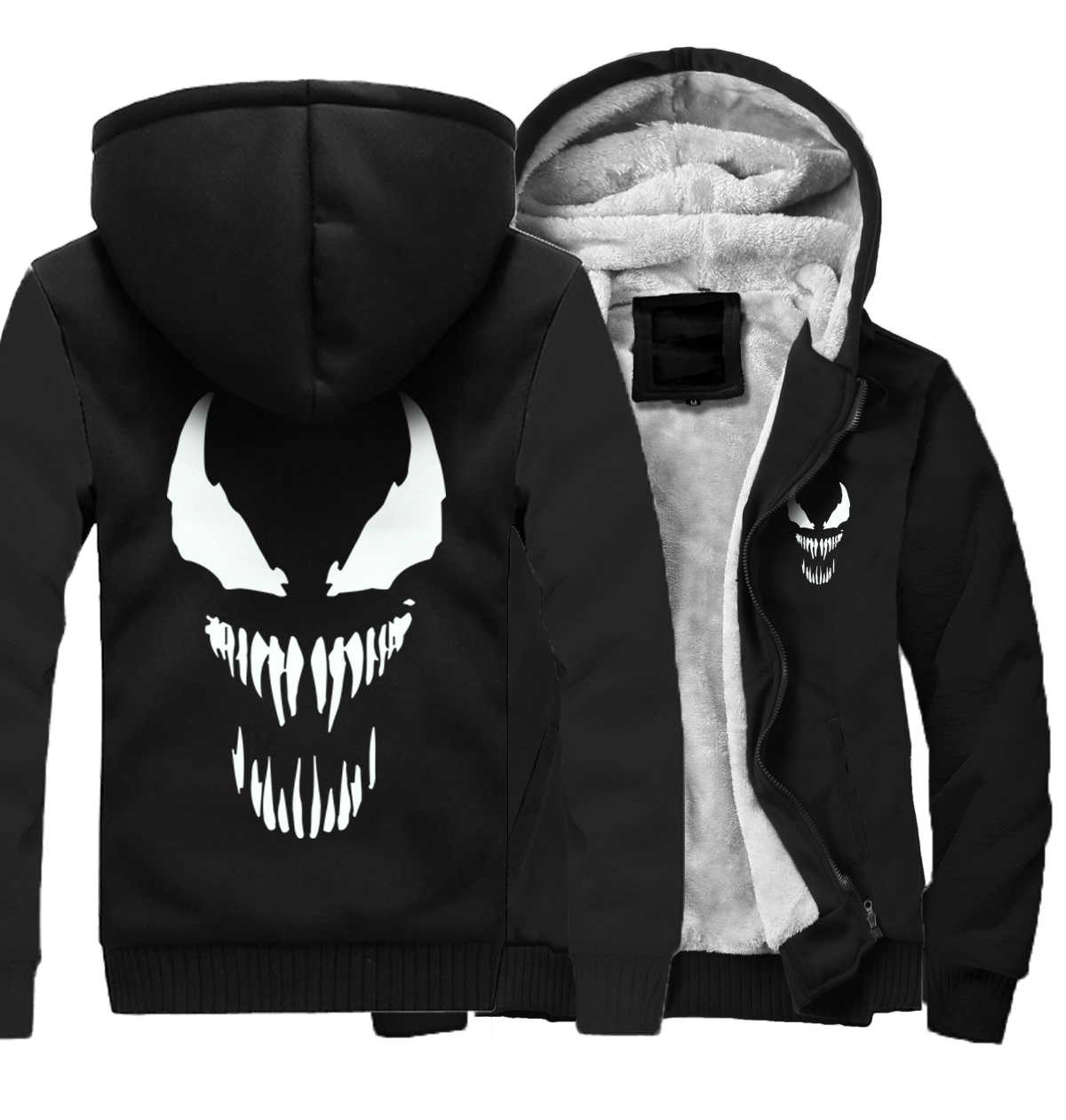 Hot Sale Men's Thick Hoodie 2018 Winter Fleece Jacket Man Funny Streetwear Sweatshirts Coats Male Solid Color Hip Hop Venom Tops