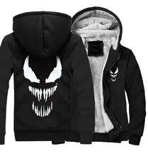 Hot Sale Mens Thick Hoodie 2018 Winter Fleece Jacket Man Funny Streetwear Sweatshirts Coats Male Solid Color Hip Hop Venom Tops