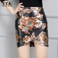 2018 New Fashion Floral Print Design Black Genuine Leather Skirts Mini Pencil Skirt Faldas Sheepskin Bottom Free Ship High Waist