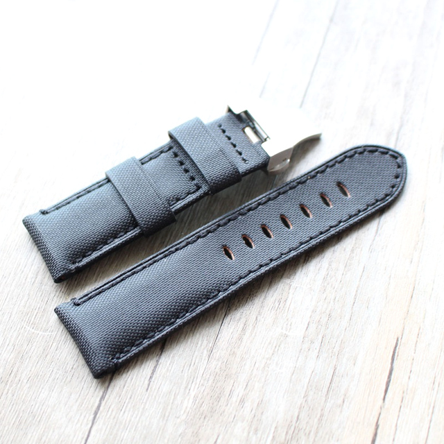 MERJUST Top Brand 24mm Black Leather With Nylon Watch Band Strap Belt For PAM Bracelet