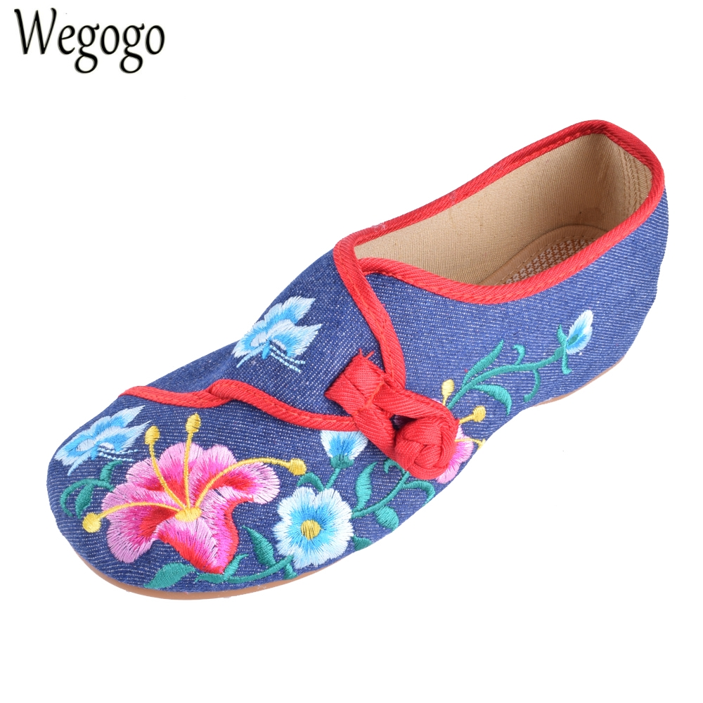 Wegogo Women Flats Cloth Shoes Chinese Floral Embroidered Casual  Soft Canvas Dance Ballet Flat Shoes Woman programs in aid of the poor sixth edition