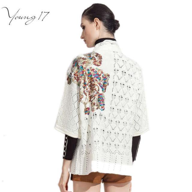 Young17 распродажа осень Свитер Женщины половина Рукава черный Hollow Вязаный свитер битник твердые Кардиган Пальто плечо блестками