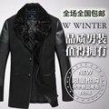Homens marca de outono e inverno masculina PU costura casaco de lã fino casaco de lã Outerwear / M-4XL