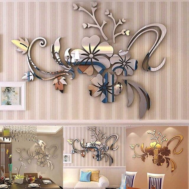 3D DIY Kunst Pflaume Blume Wandspiegel Aufkleber Selbstklebende ...