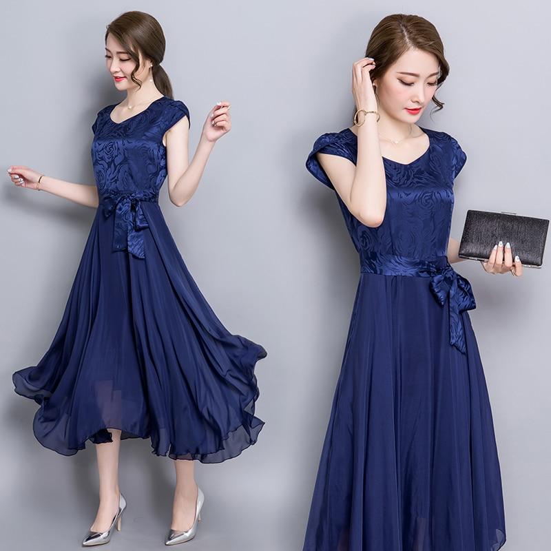 2018 summer women large size Party long silk dress female print plus size loose silk dress ladies maxi dress 4xl Vestidos Mujer