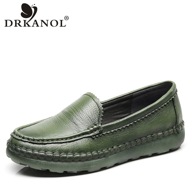 DRKANOL Spring Women Loafers Slip On Flat Shoes Handmade Genuine Leather Pregnant Women Casual Shoes Female Cowhide Flats Shoes