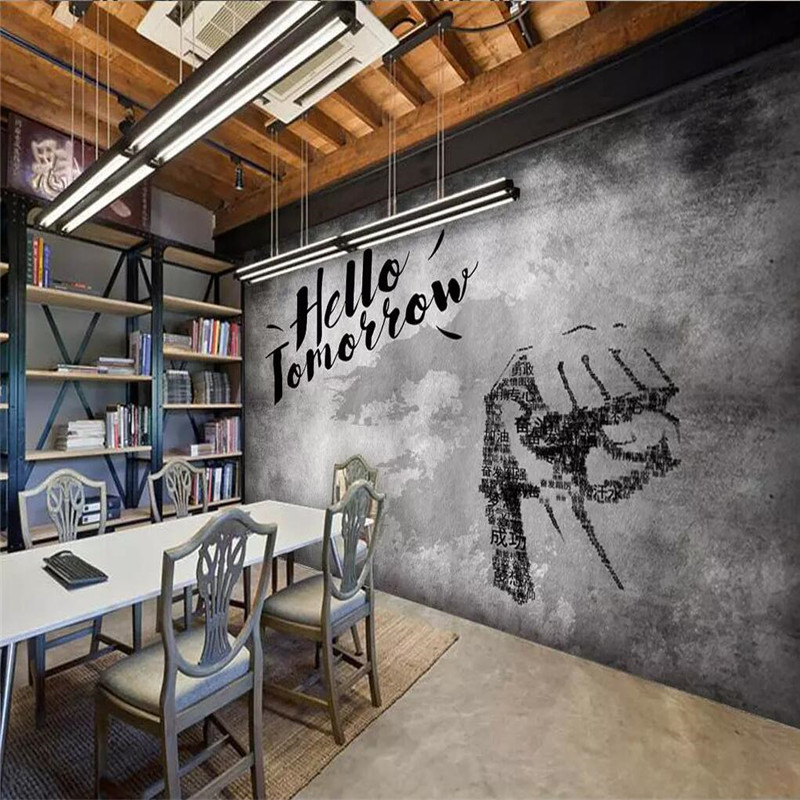 3d wallpaper vintage cement wall inspirational slogan bar restaurant background wall high end wallpaper mural in Fabric Textile Wallcoverings from Home Improvement