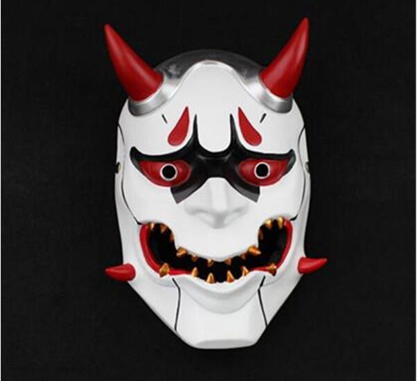 Nouvelle version OW soldat Genji peau Oni masque Halloween fantaisie boule masque Prop Collection Cosplay jeu montre pionnier mal fantôme masque