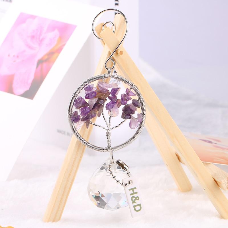 H&D Crystal Suncatcher Life Of Tree Window Hanging Ornament Rainbow Maker Fengshui Suncatcher For Christmas Home Wedding Decor