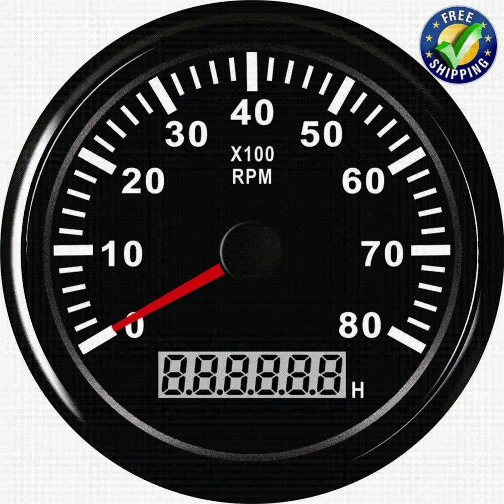 Tachymètres de jauge de tableau de bord automobile 85mm mètres de révolution 0-8000 tr/min Tach avec compteur d'heure étanche avec rétro-éclairage