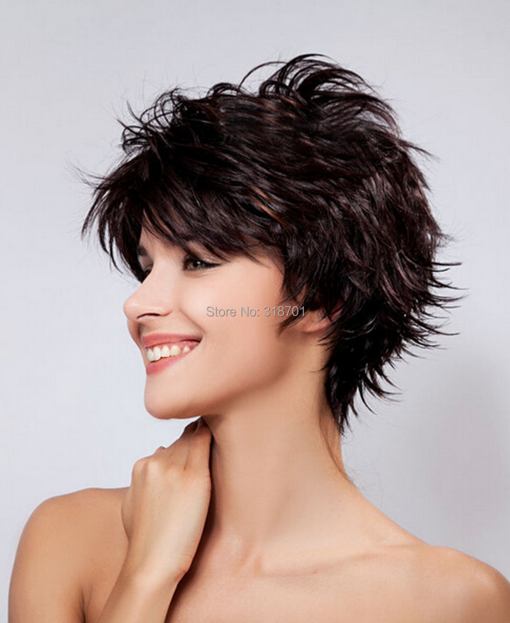 Short Hair wigs Natural dark brown with Highlights ...