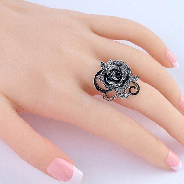 Wholesale 2017 retro fashion accessories unique silver plated Rose rings compatible woman