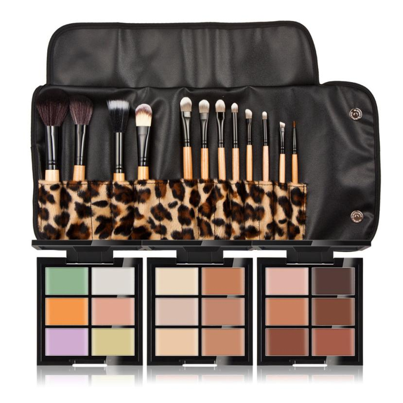 Cool! 6-Color Concealer +12 Leopard Grain Makeup Brush Make-Up Combination Of Logs makyaj seti pincel Anne
