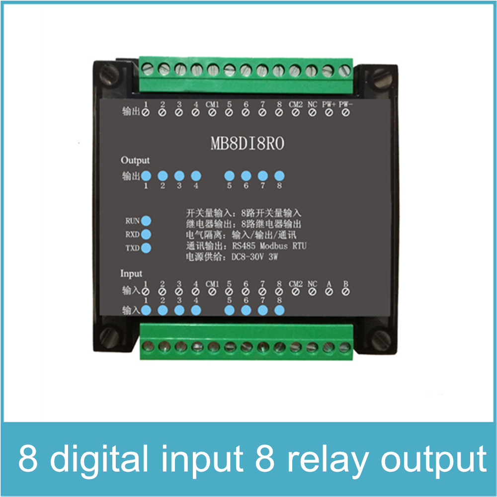 8 Channels Digital Input and 8 Channels Relay Output Isolated 8DI 8RO RS485 MODBUS Protocol Communication