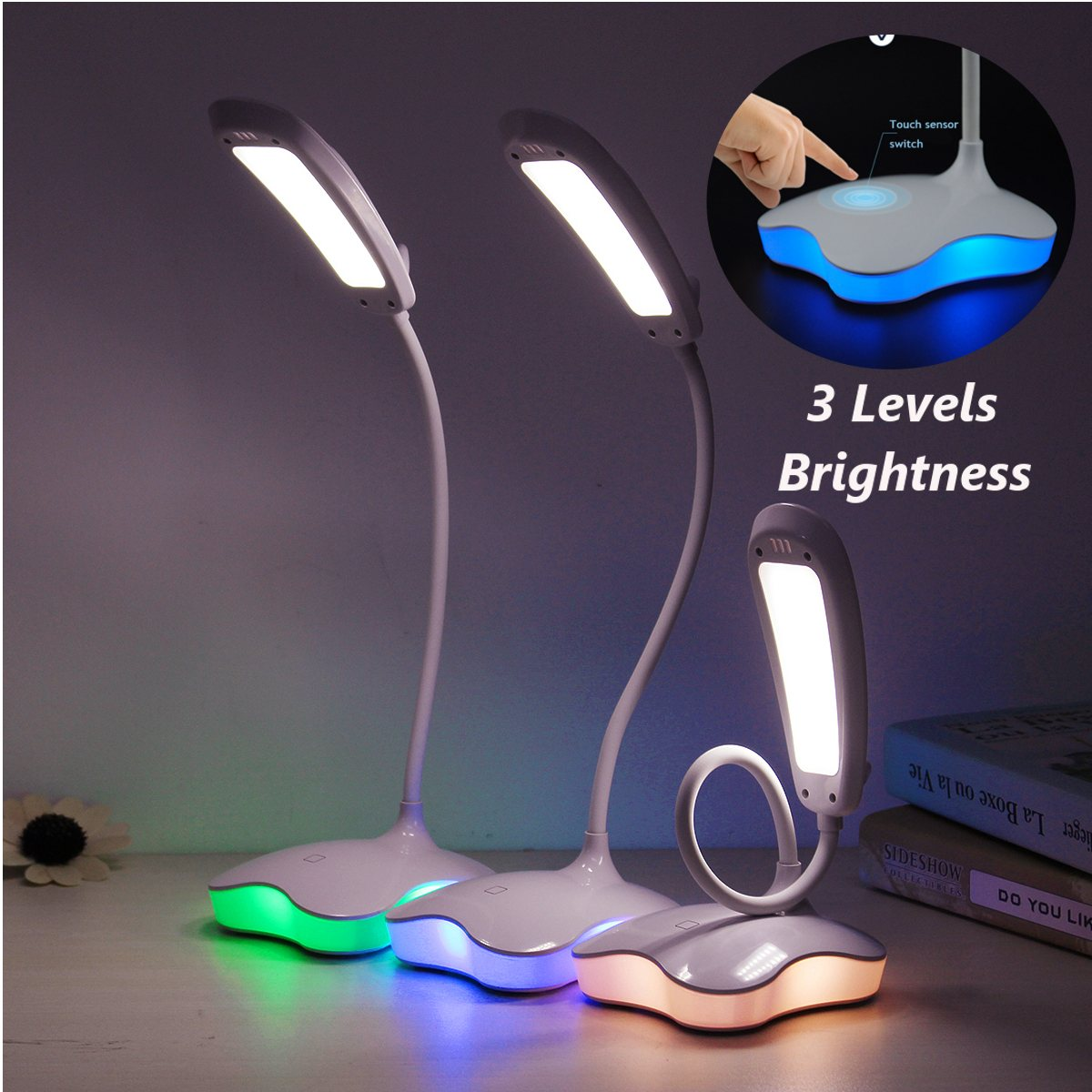 DC 5V LED USB Rechargable Touch Switch Night Light Flexible Desk Work Table Book Lamp 3 level Adjusted Brightness Eye Protection 30 55cm 6w usb led table lamp portable night light 2835 beside reading book work desk lamp 5v led rigid strip bar light