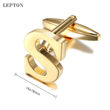 hot deal buy lepton hot letters s cufflinks for men high polishing stainless steel cufflinks man shirt cuffs cuff links relojes gemelos