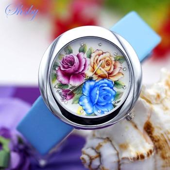 Shsby Brand flowers Leather Strap Watches Women Dress Watch girl Casual Quartz wristwatch Lady Rhinestone bracelet