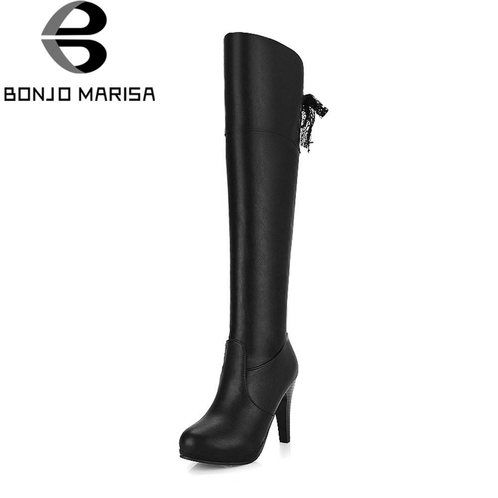 Mode Chaussures Automne Bottes Noir Slip Plissée Cm on Noir Sexy Talons 10 2019 Bonjomarisa marron Femme Genou Femmes Haute 18vdZ1W