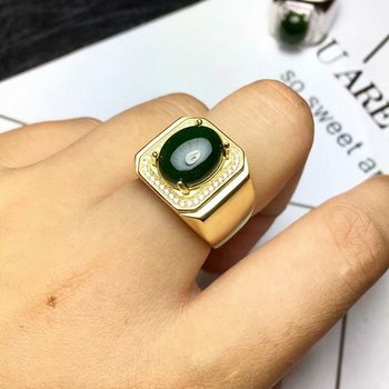 925 Pure silver inlaid with natural Jasper ring men's overlapping mouth can be determined as a dead ring ring father's day gift