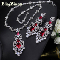 BlingZircons Gorgeous Wedding Jewellery Cubic Zirconia Paved Setting Red Large Long Dangling Bridal Earrings Necklace Sets