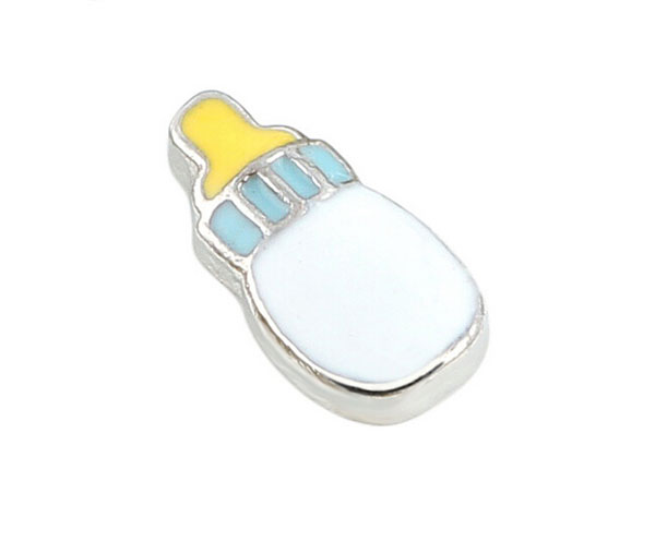 Free Shipping, 20pcs Enamel Feeding Bottle Floating Charms Fit For Lockets, Gifts