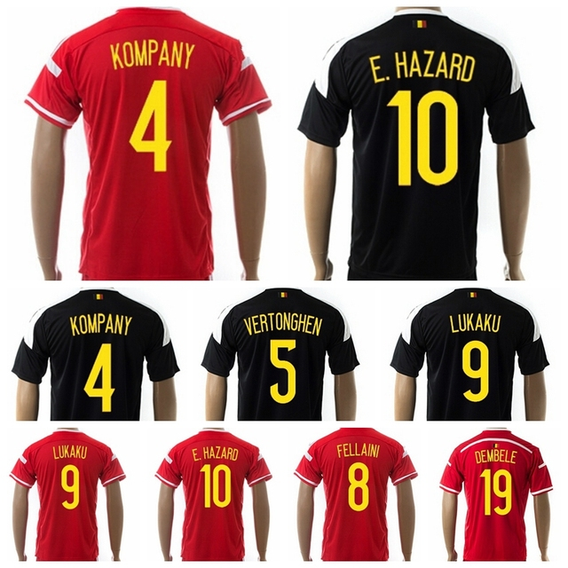 9b1ed9e03 Soccer Belgium Jersey 2015 2016 Eden Hazard Vincent Kompany Lukaku De Bruyne  Vermaelen Fellaini Football Shirt Kits Red Black