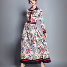 Spring Women's Pleated Maxi Fashion New 2019 Autumn Long Party Polo Neck Flower Full Sleeve Floral P