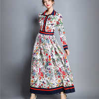 Spring Women's Pleated Maxi Fashion New 2019 Autumn Long Party Polo Neck Flower Full Sleeve Floral Printed Dress Vintage Dress