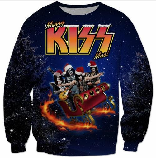 3D Harajuku Outfits Casual Popular Kiss Songs Christmas Sweatshirt Santa is Coming Hoodi ...
