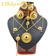 Ethlyn Clásico Tamaño Grande y Pesado de Etiopía Joyería de La Boda Establece Joyería del Color del Oro Africano/Sudán/Nigeria/Kenia Joyería nupcial