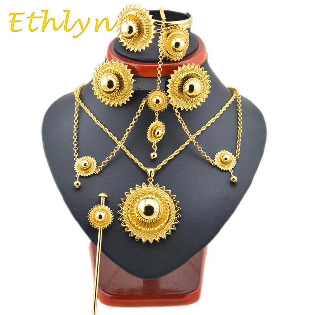 Ethlyn Tamaño Grande y Pesado de Etiopía joyería de la boda establece Joyería plateada Oro Africano/Sudán/Nigeria/Kenia nupcial sistemas de la joyería