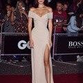 Bella Vestidos de Tapete Vermelho de Hollywood Glamour Alta Dividir Fora Do Ombro Querida Alta Dividir Fora Do Ombro Vestidos de Noite