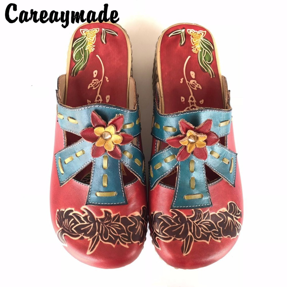 Careaymade 2019 Folk style Head layer cowhide pure handmade Carved shoes the retro art mori girl