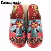 Hot,2016 Folk style Head layer cowhide pure handmade Carved shoes,the retro art mori girl shoes,Women's fashion casual slipper