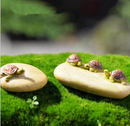 Turtle On The Stone Ornament Miniature Figurine Plant Pot Garden Decor Toys Home Crafts Clic Art Collectible