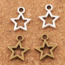 Open Star Spacer Charm Beads 150pcs Antique Silver/Bronze Pendants Alloy Handmade Jewelry DIY L138 9.8x12mm